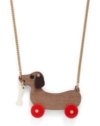 Tatty Devine | Brown Dog On Wheels Necklace - For Women | Lyst