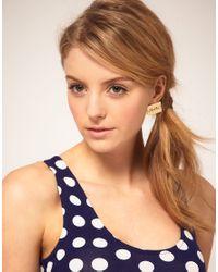 ASOS - Metallic Hello Stud Earrings - Lyst