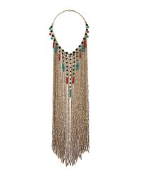 TOPSHOP - Multicolor Bead and Tusk Cascade Necklace - Lyst