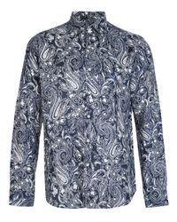 Etro   Blue Paisley Print Shirt for Men   Lyst