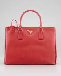dda8d8df8e24 Lyst - Prada Saffiano Small Doublezip Executive Tote Bag in Red