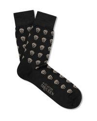 Alexander McQueen | Black Skull-patterned Cotton-blend Socks for Men | Lyst