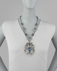 Jose & Maria Barrera - Metallic Blue Crystal Pendant Necklace - Lyst