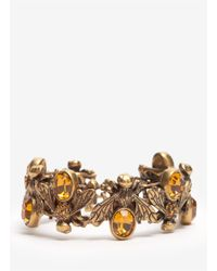 Alexander McQueen | Metallic Crystal-embedded Bees Toggle Bangle | Lyst