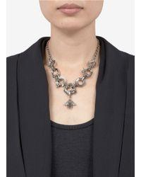 Alexander McQueen   Metallic Honeycomb Bee Skull Necklace   Lyst