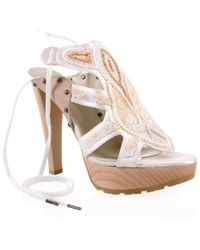 Stella McCartney | White Pearl Beaded High-leg Sandal | Lyst