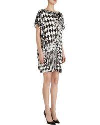 Balmain - White Diamond Tile Print Cap Sleeve Dress - Lyst
