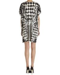Balmain - White Diamond Tile Print Cap Sleeve Dress - Lyst