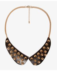 Forever 21 | Black Peter Pan Collar Spiked Bib Necklace | Lyst