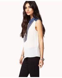 Forever 21 - Blue Geo Bib Chiffon Shirt - Lyst
