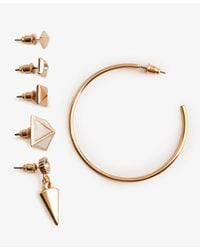 Forever 21 - Metallic Pyramid Hoop Earring Set - Lyst