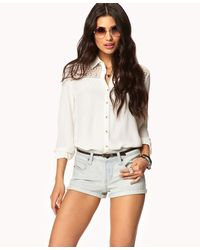 Forever 21 - Blue Everyday Denim Shorts W/ Belt - Lyst