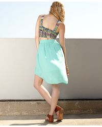Forever 21 - Green Georgette High-Low Skirt - Lyst