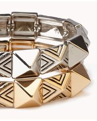 Forever 21 - Metallic Stretchy Pyramid Stud Bracelet Set - Lyst