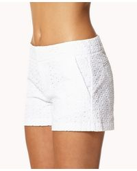 Forever 21 | White Essential Eyelet Shorts | Lyst