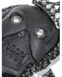 Amedeo - Black Diamonds Lava Rhodium Skull Cameo Ring - Lyst