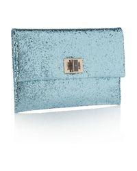Anya Hindmarch | Blue Valorie Glitter-finish Leather Clutch | Lyst