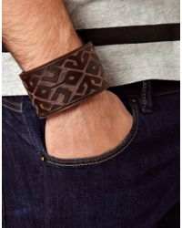 ASOS - Brown Embossed Leather Cuff for Men - Lyst
