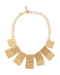 Kenneth Jay Lane - Metallic Hammered Gold Plated Necklace - Lyst