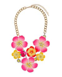 TOPSHOP - Multicolor Flower and Rhinestone Collar - Lyst
