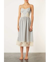 TOPSHOP - Blue Strappy Lace Vintage Slip - Lyst