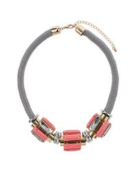 TOPSHOP - Pink Rhinestone and Cord Collar - Lyst