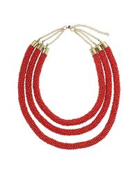 TOPSHOP - Red Three Row Beaded Necklace - Lyst