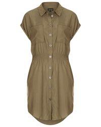 TOPSHOP | Natural Casual Utility Shirtdress | Lyst