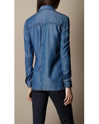 Burberry | Blue Twotone Denim Shirt | Lyst
