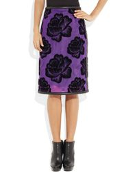 Christopher Kane - Purple Leather Trimmed Flocked Tulle Pencil Skirt - Lyst