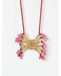 Free People - Red Beaded Plate and Fringe Necklace - Lyst