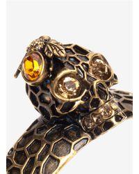 Alexander McQueen - Metallic Honeycomb And Skull Hinge Bangle - Lyst