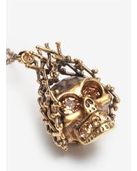 Alexander McQueen | Metallic Honeycomb Skull Pendant Necklace | Lyst