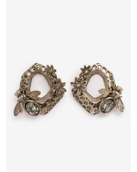 Alexander McQueen - Gray Hexagon Bee Skull Earrings - Lyst