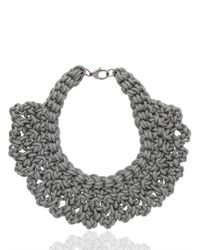 Alienina | Gray Altrove Brass And Cotton Knot Necklace | Lyst