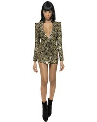 Balmain Black Lurex and Silk Twill Jacquard Dress
