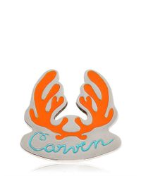Carven | Orange Antlers Logo Metal Pin | Lyst