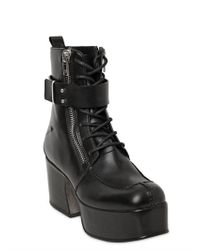 CoSTUME NATIONAL - Black Platform Biker Boots - Lyst