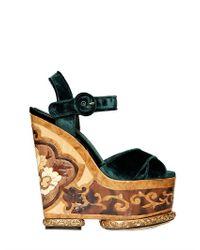 59d09cfebb5 Dolce   Gabbana 70mm Velvet Inlaid Wedges in Green - Lyst