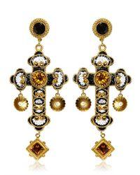 Dolce & Gabbana | Metallic Medium Cross Drop Earrings | Lyst
