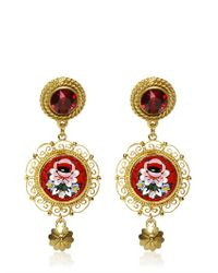 Dolce & Gabbana - Metallic Micro Mosaic Clip Earrings - Lyst