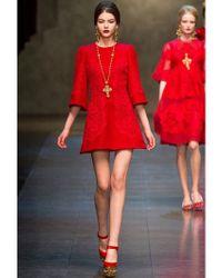 Dolce & Gabbana - Red Macramè Lace and Wool Drill Dress - Lyst