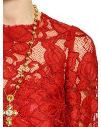 Dolce & Gabbana - Red Macramè Lace Dress - Lyst