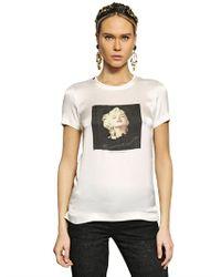 Dolce & Gabbana   White Printed Silk Crepe De Chine Tshirt   Lyst