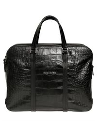 DSquared² | Black Croc Embossed Bag for Men | Lyst