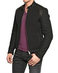 DSquared² - Black Nappa Leather and Wool Biker Jacket for Men - Lyst