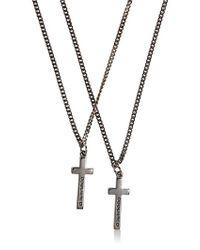 DSquared² - Gray Logo Embossed Cross Pendant Necklace for Men - Lyst