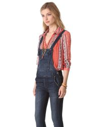 Free People - Blue Washed Cord Overalls - Lyst