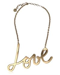 Lanvin | Metallic 'Love' Crystal Brass Necklace | Lyst