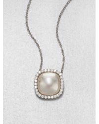 Majorica | White Square Mabe Pearl And Sterling Silver Necklace | Lyst